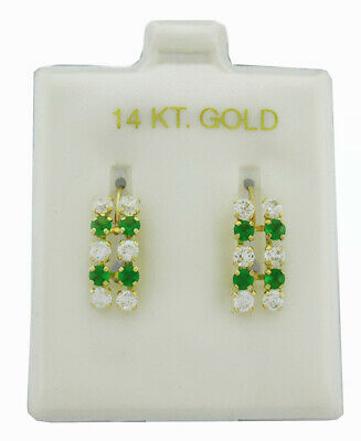 EMERALDS & WHITE SAPPHIRES DANGLING EARRINGS 14k Yellow Gold ** NEW WITH TAG