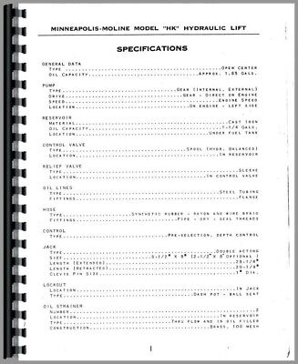 Operators Manual Minneapolis Moline Za Uni Utu Uts Tractor Hydraulics System