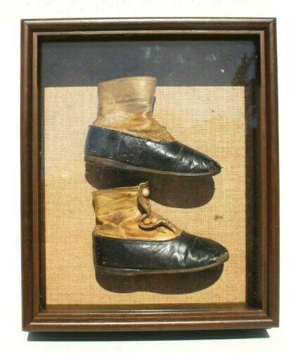 Vtg Antique Victorian 1900s Framed Shadow Box Button Up Leather Baby Shoes
