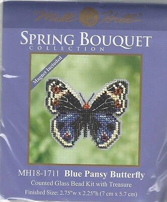 Blue Pansy Butterfly Mill Hill Bead Cross Stitch