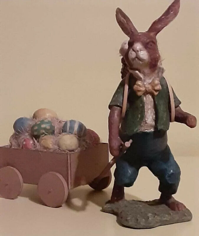 """Bethany Lowe Designs Vintage Folk Art Easter Bunny Delivery """"New"""" RETIRED & RARE"""