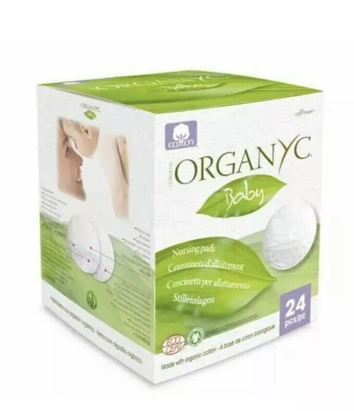 NEW Disposable Organyc Nursing Pads w/Adhesive Strip 100% Organic Cotton 24 ct