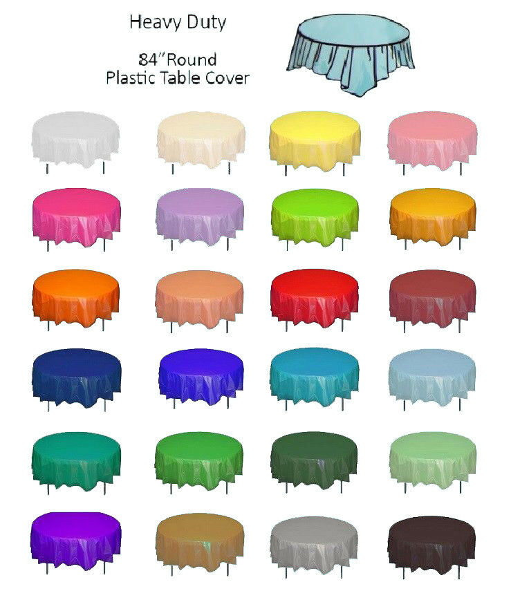 Color Circle Round Plastic Disposable Tablecloth Table Cover