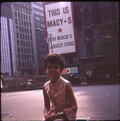 Kid Girl Macy's Department Store Sign New York City Vintage 1969 Slide Photo - Kid City Stores