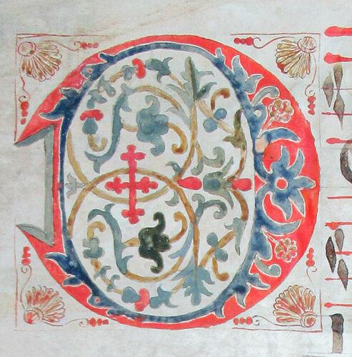 ILLUMINATED MANUSCRIPT CHOIRBOOK LEAF SPAIN c 1580,  LARGE ELABORATE INITIAL