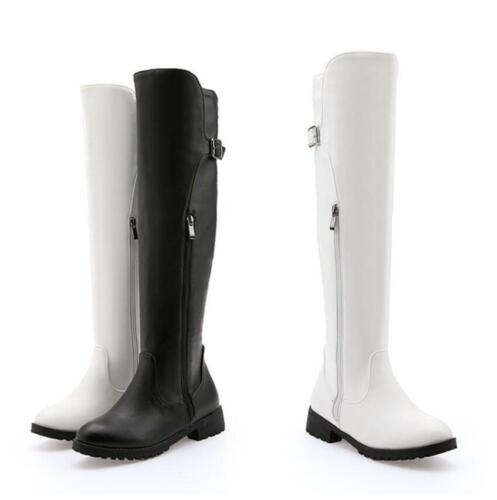 Women Low Chunky Heel Round Toe Side Zipper Stretch Over Knee High Riding Boot L