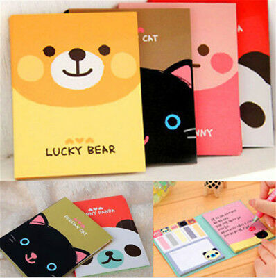 1pc Portable Cute Cartoon Paper Diary Notepad Memo Post Sticky Notebook Random