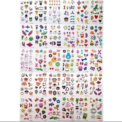 10 Sheets Kids Cartoon Waterproof Body Temporary Tattoos Sticker Removable US