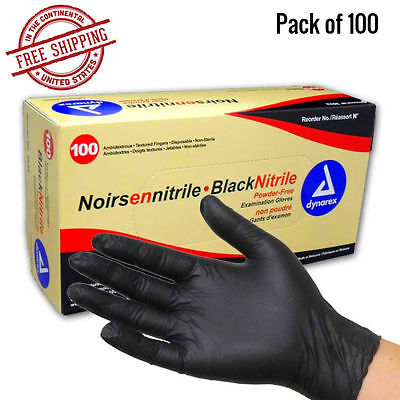 Black Gloves Nitrile Powder Free Latex Rubber Heavy Duty Durable Quality Large - Black Gloves
