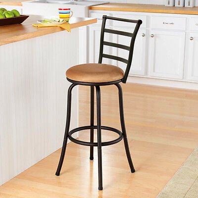 BarStool High Back Chair Metal Beige Brown Comfortable Swivel Kitchen Counter 29