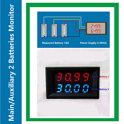 Dual Voltmeter Mainsecondary 2 Battery Tester Display Dual Voltage 200v Rv Auto