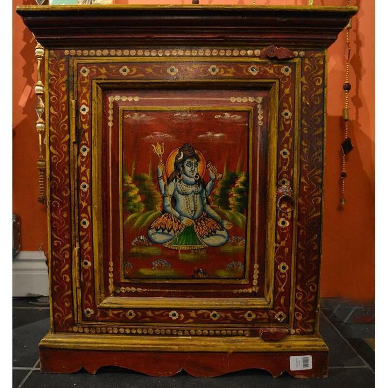 Hand-painted Shiva Wooden cabinet