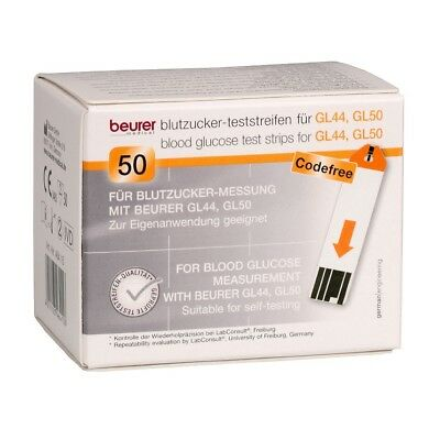 50 Beurer Teststreifen für Beurer GL44 + GL50 Blutzuckermessgerät
