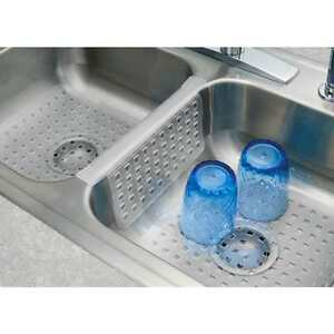 mat protector double sink divider clear kitchen dish safe durable grips saddle. Interior Design Ideas. Home Design Ideas