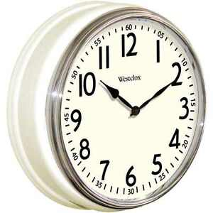 Westclox Vintage Kitchen Wall Clock White Classic Round Flat Glass Lens Battery