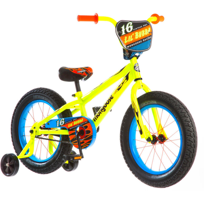 16 Mongoose Lil Bubba Boys Fat Tire BMX Bike Steel Frame Training Wheels Bicycle