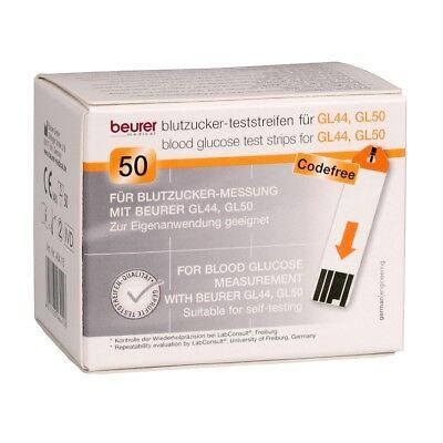 100 Beurer Teststreifen für Beurer GL44 + GL50 Blutzuckermessgerät MHD 10/20