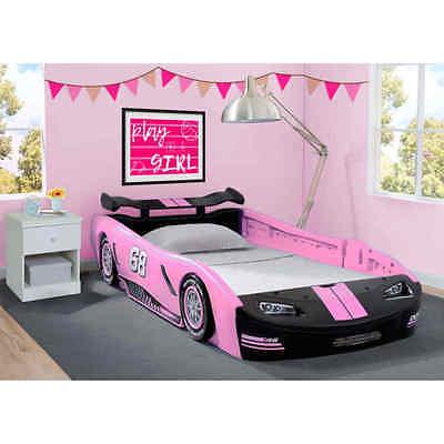 Girls Race Car Bed Pink Bedroom Furniture Kids Children Frame Twin Toddler Beds