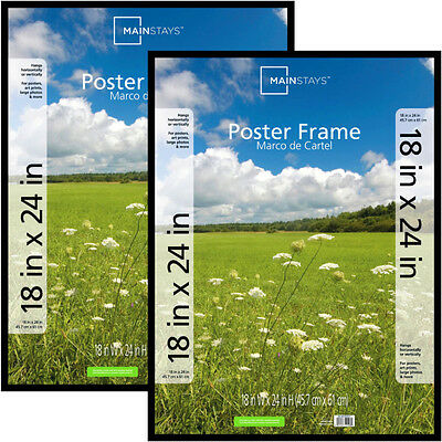 Mainstays 18x24 Basic Poster  Picture Frame, Black, Set of 2 Photo Decor