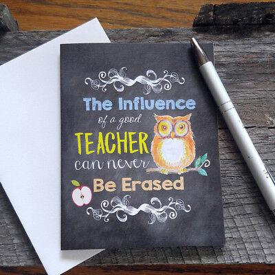 Chalkboard Style Card for Teacher, school, owl, thank you, NICE