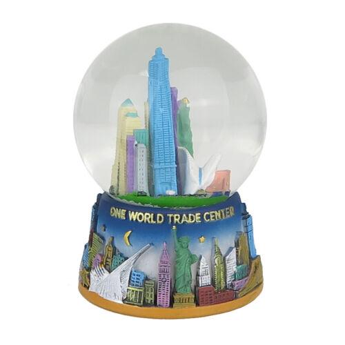 "One World Trade Statue Liberty NYC Skyline Snow Globe Souvenir Figurine 3""W New"