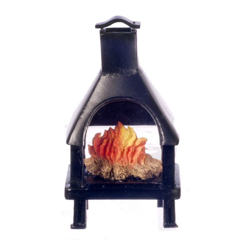 Dollhouse Miniature Black Outdoor Fireplace with Fire
