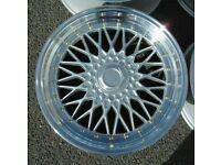 "Mini Vauxhall Fiat Honda x4 17"" Dare Rs Alloy Wheels 4x100 Silver BBS Style"