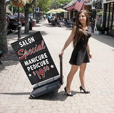 Rolling Springer Deluxe Changeable Letters Sidewalk Message Board Sign Black
