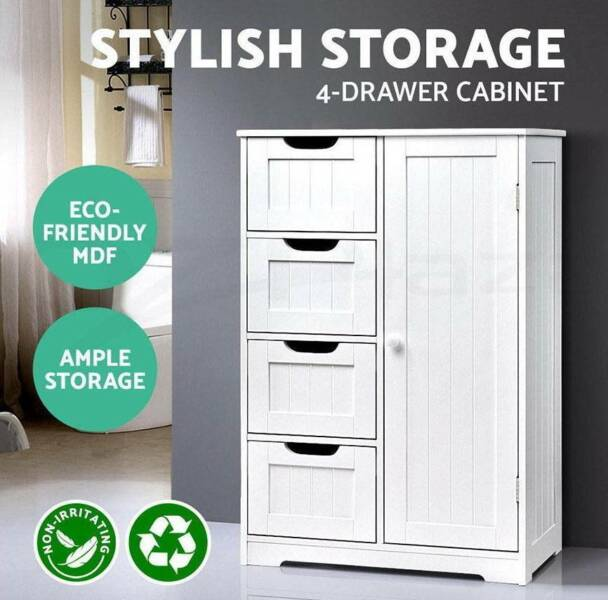 Bathroom Storage Cabinet Laundry Toilet Cupboard Tallboy Shelf ...