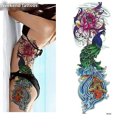 Full Arm Peacock Fish Tattoo Temporary Stickers Body Art 3D Tatoo Waterproof - Fish Tatoos