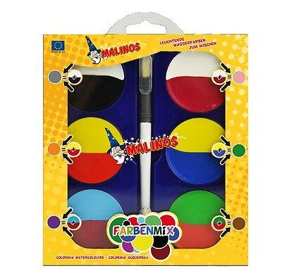 Malinos FARBENMIX Wasserfarben Malkasten mit Doppelfarben zum Mischen + Pinsel
