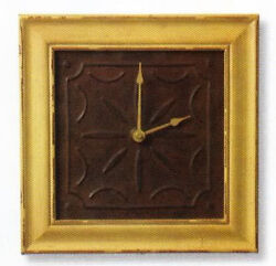 WALL CLOCK DISTRESSED MUSTARD WOOD RUSTIC EMBOSSED TIN FACE 12 x 12