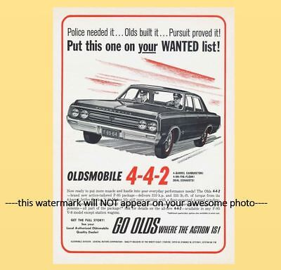 1964 Olds 442 Police Car PHOTO Ad Oldmobile Policeman Pursuit Muscle Car