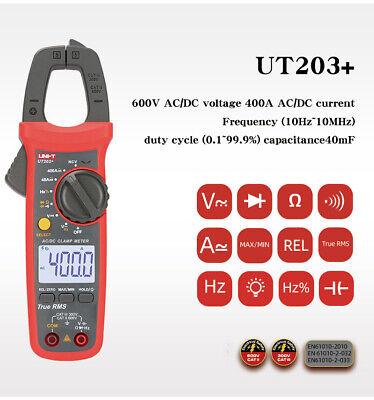 Uni-t Ut203 Digital Clamp Meter True Rms Multimeter Ac Dc Ohm Cap Ncv Tester Ce