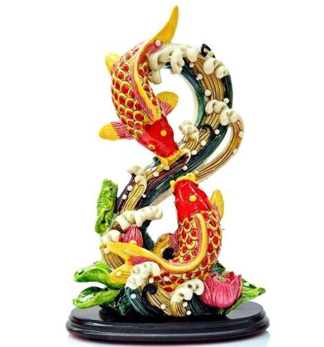 Chinese Feng Shui Carp Fish Statue Swimming Lotus Water