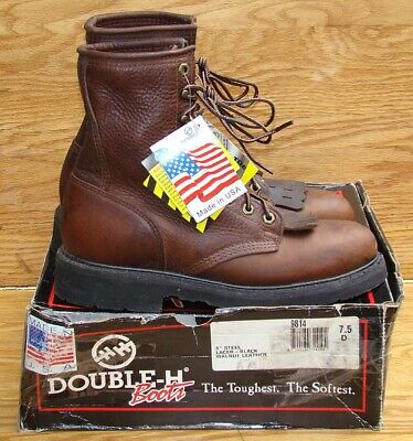 """DOUBLE H 8"""" Brown Walnut Leather EH Steel Toe Work Boots Men's 7.5 D"""