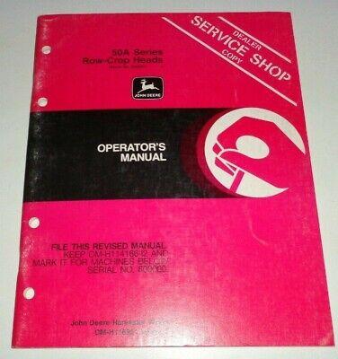 John Deere 4420-6620 Combine 50a Series Row Crop Head Operators Manual Omh116951