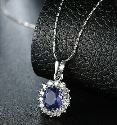 2.00 CT Created Oval Cut Sapphire Necklace in 18K White Gold ITALY 18