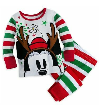 Disney Store Baby Girls Minnie Mouse Reindeer Holiday Pj Pals Pajama Sleep Set