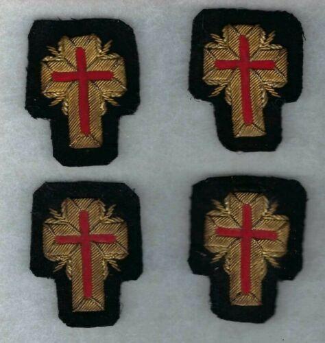 4 Vintage Masonic Knights Templar Cross Patches Gold Bullion on Black Wool