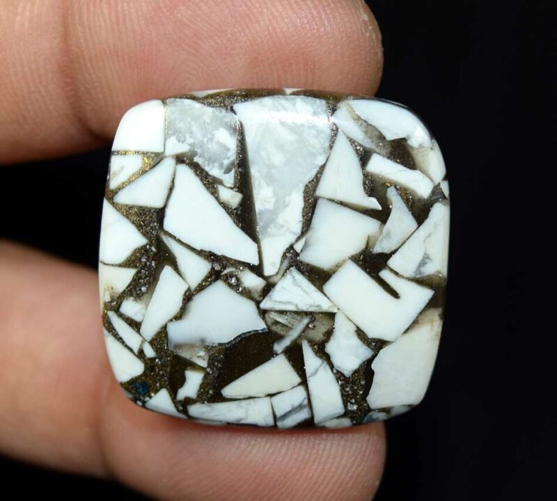 31.65 Cts. Reconstructed Copper White Howlite Cushion Cabochon Loose Gemstone
