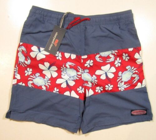 Vineyard Vines Boys Moonshine Blue & Red Pieced Crab Floral Swim Shorts