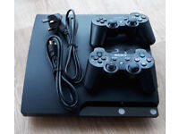 PS3 Slim, full bundle, 2 controllers & 4 best games, included FIFA 2018 LEGACY edition