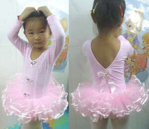 Pink-Girl-Party-Long-Sleeve-Leotard-Ballet-Tutu-Costume-Dance-Skirt-Dress-3-8Y