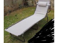 One sunlounger/campbed Lay flat type. Brand new
