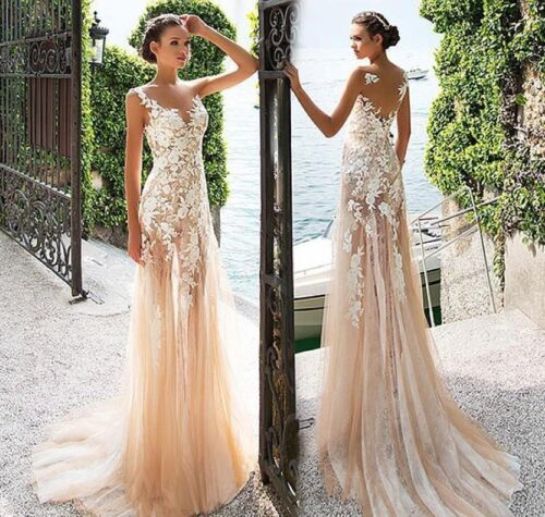 Illusion V Neck Sheath Mermaid Sweep Train Wedding Dress