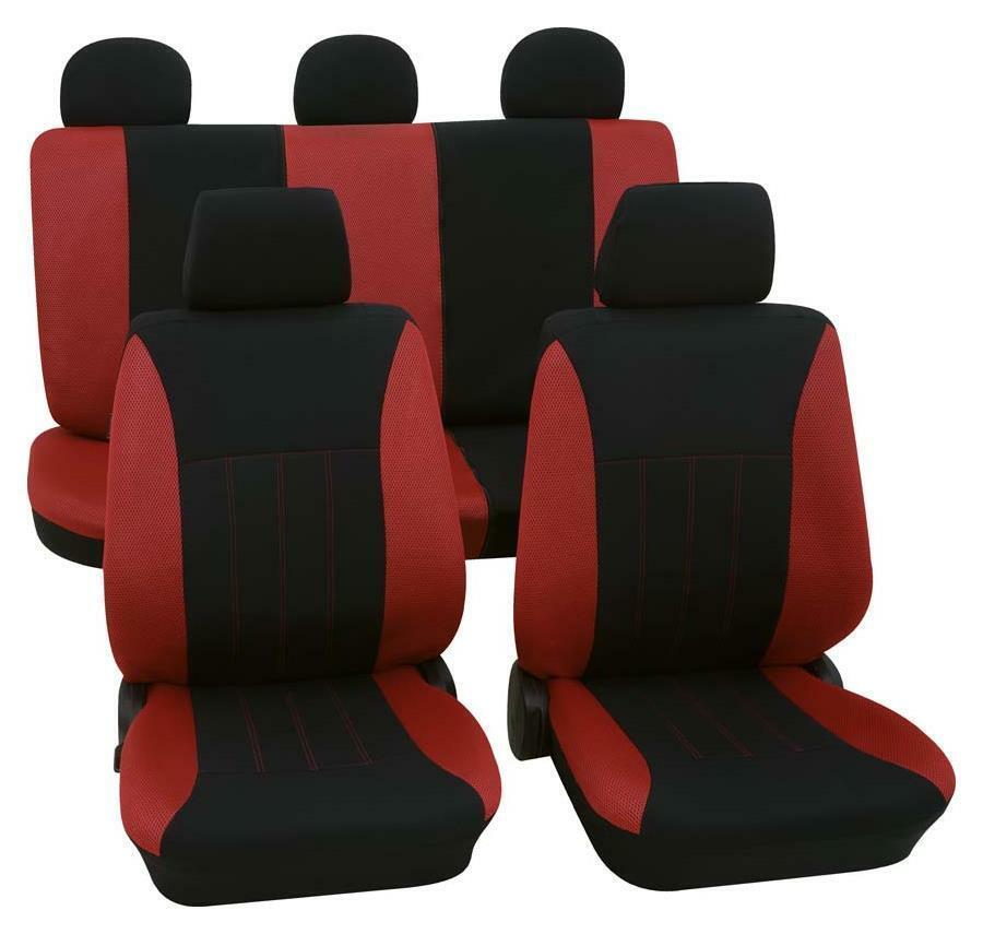 5x Sitzbezüge Schonbezüge Rot Schwarz Satz Polyester Neu Komfort für