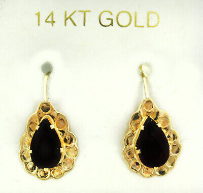 GARNETS 1.54 Cts GEMSTONES DANGLE EARRINGS 14K YELLOW GOLD ** New With Tag **