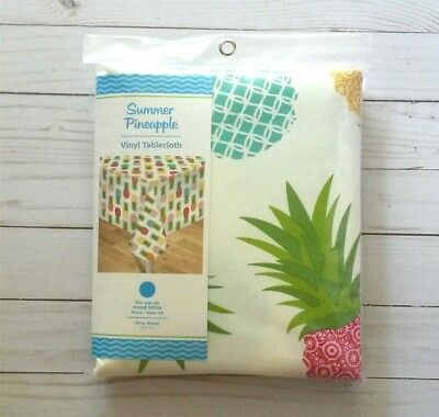 60 Inch Round Tablecloth (Vinyl Tablecloth Pineapples Picnic Camping Party BBQ 60 Inch)