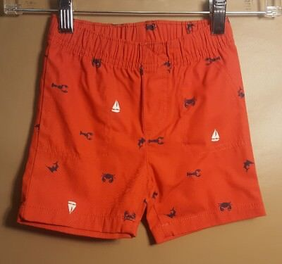 Carters Baby Boy Sailboat lobster RED Shorts Denim Size 18 - Baby Lobster